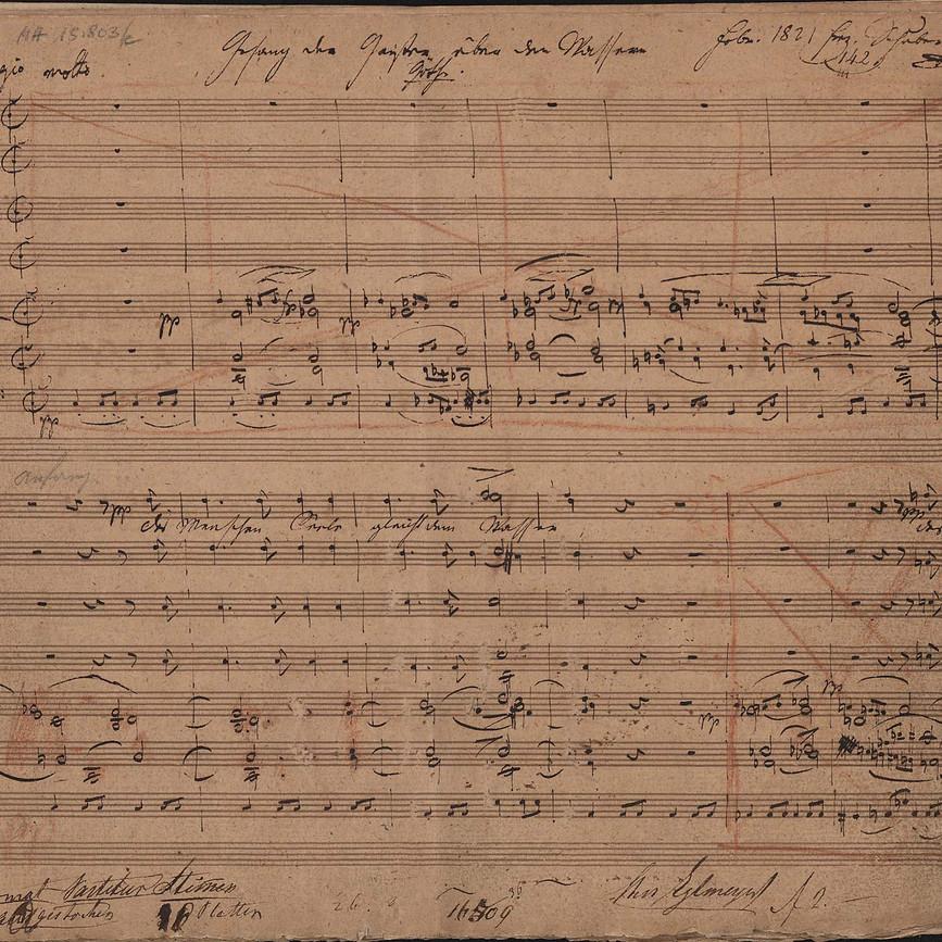 Franz Schubert, Gesang der Geister über den Wassern D 714 (Autograph) © Wienbibliothek im Rathaus, MH 15803