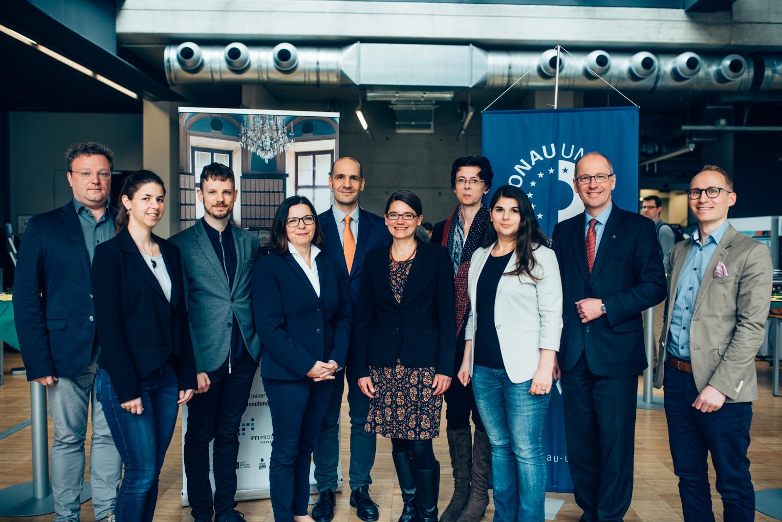 """Das Projektteam von """"Kloster_Musik_Sammlungen"""" mit Rektor Friedrich Faulhammer (2.v.r.)"""